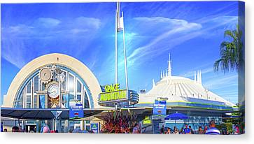Canvas Print featuring the photograph Space Mountain Entrance Panorama by Mark Andrew Thomas