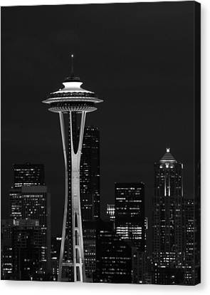 Space Needle At Night In Black And White Canvas Print by Mark J Seefeldt
