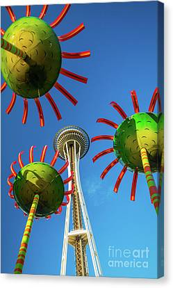 Space Needle Bloom Canvas Print by Inge Johnsson