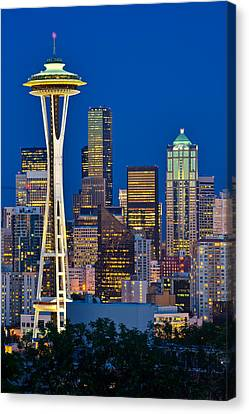Wa Canvas Print - Space Needle Blues by Thorsten Scheuermann