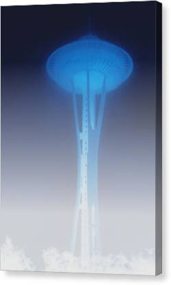 Space Needle In Serious Fog - Seattle Wa Canvas Print by Christine Till