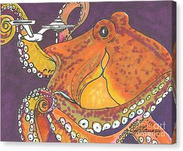 Space Octopus Canvas Print by Kathryn Launey