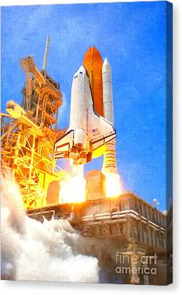 Atlantis Canvas Print - Space Shuttle Atlantis Launches From Ksc On Sts-132 Side View by Art Gallery
