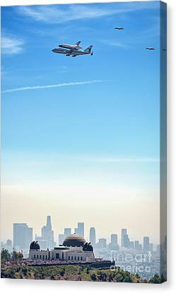 Space Shuttle Endeavour, Chase Planes Over The Griffith Observatory Skyline Canvas Print