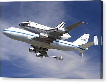 Space Shuttle Endeavour Over Lax With Hornet Chase Plane September 21 2012 Canvas Print by Brian Lockett