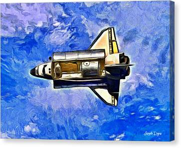 Space Shuttle In Space - Da Canvas Print by Leonardo Digenio