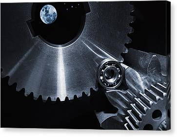Canvas Print featuring the photograph Space Technology And Titanium Parts by Christian Lagereek