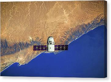 Spacecraft In Space Canvas Print by Leonardo Digenio