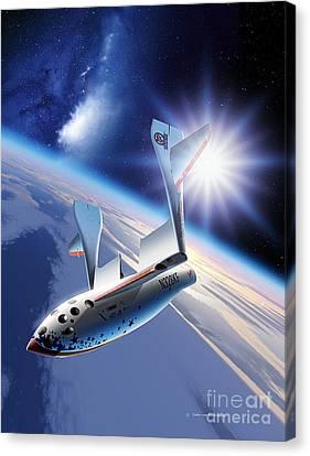 Spaceshipone Re-entry Canvas Print by Detlev van Ravenswaay and Photo Researchers