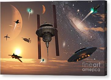 Spaceships Used By Different Alien Canvas Print by Mark Stevenson