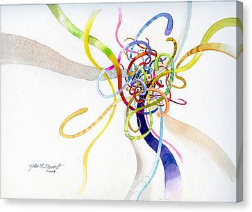 Canvas Print featuring the painting Spaghetti Abstract by John Norman Stewart