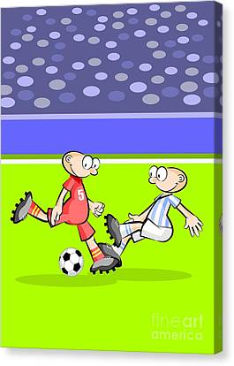 Active Canvas Print - Spain Faces Argentina In Vibrant Soccer Match by Daniel Ghioldi