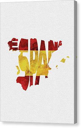 Rustic Canvas Print - Spain Typographic Map Flag by Inspirowl Design