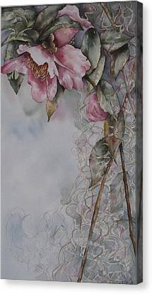 Canvas Print featuring the painting Spanish Camellias by Mary McCullah