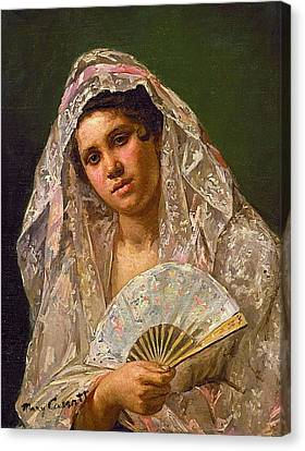 Spanish Dancer Wearing A Lace Mantilla Canvas Print by MotionAge Designs