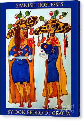 Canvas Print featuring the painting Spanish Hostesses. by Don Pedro De Gracia