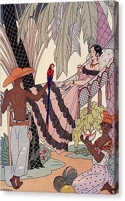 Spanish Lady In Hammock With Parrot Canvas Print by Georges Barbier