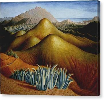 Spanish Landscape With Mountains Canvas Print by Dora Carrington