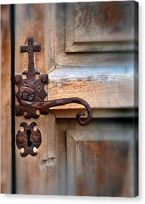 Spanish Mission Door Handle Canvas Print by Jill Battaglia