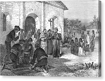 Spanish Mission Of The Alamo Canvas Print by William Ludlow Sheppard