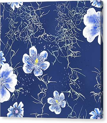 Indigo Batik Tile 4 - Spanish Moss Canvas Print
