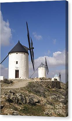 Spanish Windmills In The Province Of Toledo, Canvas Print by Perry Van Munster