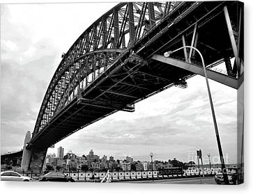 Spanning Sydney Harbour - Black And White Canvas Print by Kaye Menner
