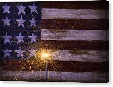 Sparkler With American Flag Canvas Print by Garry Gay