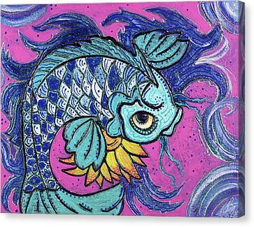 Sparkling Koi Canvas Print by Laura Barbosa