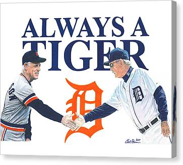 Sparky Anderson And Jim Leyland Canvas Print by Chris Brown