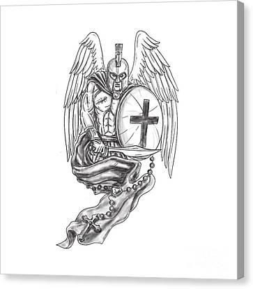 Spartan Warrior Angel Shield Rosary Tattoo Canvas Print by Aloysius Patrimonio