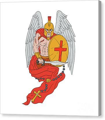 Spartan Warrior Angel Sword Rosary Drawing Canvas Print by Aloysius Patrimonio