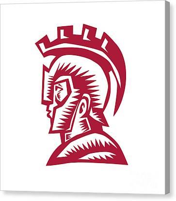 Spartan Warrior Helmet Woodcut Canvas Print by Aloysius Patrimonio