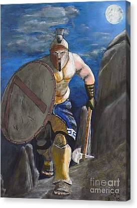 Canvas Print featuring the painting Spartan Warrior One Of The Three Hundred At Night by Eric Kempson