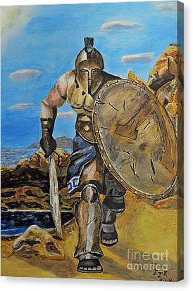 Canvas Print featuring the painting Spartan Warrior One Of The Three Hundred by Eric Kempson