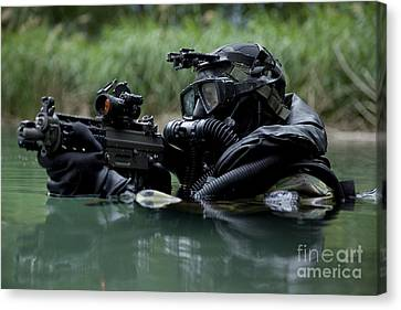 Special Forces Combat Diver Takes Canvas Print by Tom Weber