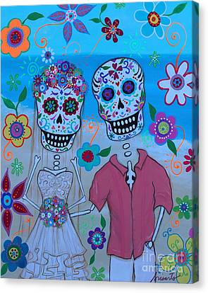 Canvas Print featuring the painting Special Mexican Wedding by Pristine Cartera Turkus
