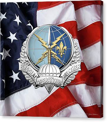Special Operations Weather Team -  S O W T  Badge Over American Flag Canvas Print by Serge Averbukh