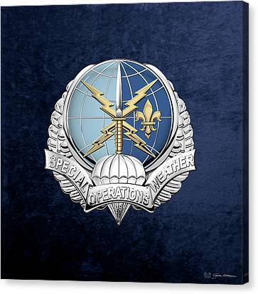 Special Operations Weather Team -  S O W T  Badge Over Blue Velvet Canvas Print by Serge Averbukh