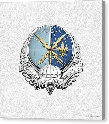 Special Operations Weather Team -  S O W T  Badge Over White Leather Canvas Print by Serge Averbukh