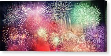 Spectacular Fireworks Show Light Up The Sky. New Year Canvas Print by Michal Bednarek