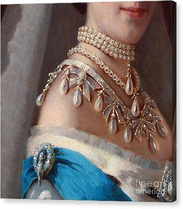 Historical Fashion, Royal Jewels On Empress Of Russia, Detail Canvas Print by Tina Lavoie