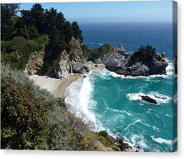 State Beach Near Big Sur Canvas Print - Spectacular Mcway Falls In Julia Pfeiffer Burns State Park by Carla Parris