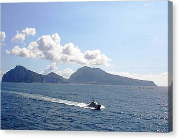 Canvas Print featuring the photograph Speed At Sea Capri by Piety Dsilva