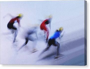 Speed Skating 1 Canvas Print by Zoran Milutinovic