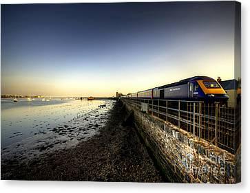 Train Station Canvas Print - Speeding Thro Starcross by Rob Hawkins