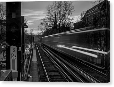 Ubahn Canvas Print - Speeding Train Bw by Adrian O Brien
