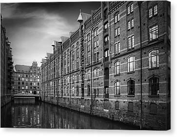 Gothic Germany Canvas Print - Speicherstadt Hamburg Germany In Black And White by Carol Japp