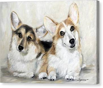 Welsh Corgi Canvas Print - Spencer And Angus by Mary Sparrow