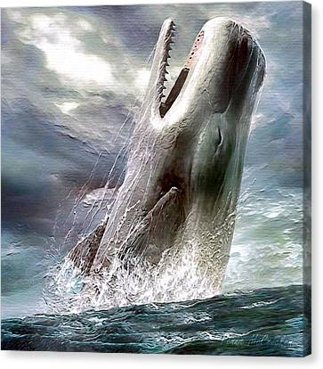 Canvas Print featuring the digital art Sperm Whale by Pennie McCracken
